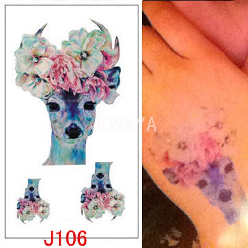 1 Pc Colorful Female Deer Tattoo Art Temporary Tattoos Sticker Fake Thigh Body Tattoo Deer Tattoos Small Flash Stickers(China (Mainland))