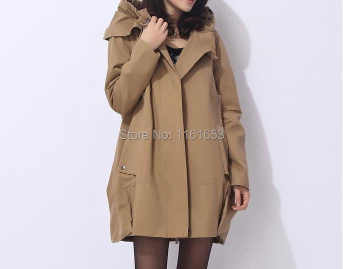 product Cotton hooded windbreaker Long relaxed leisure trench coat collar bigger sizes lotus leaf gets