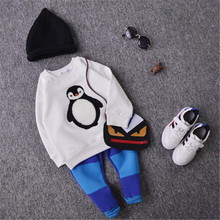 Baby Boy Girl Hoodie Cute Penguin Fleece Hoodies Kids Long Sleeve Autumn Winter Sweaters Toddler Clothing Warm Outwear(China (Mainland))