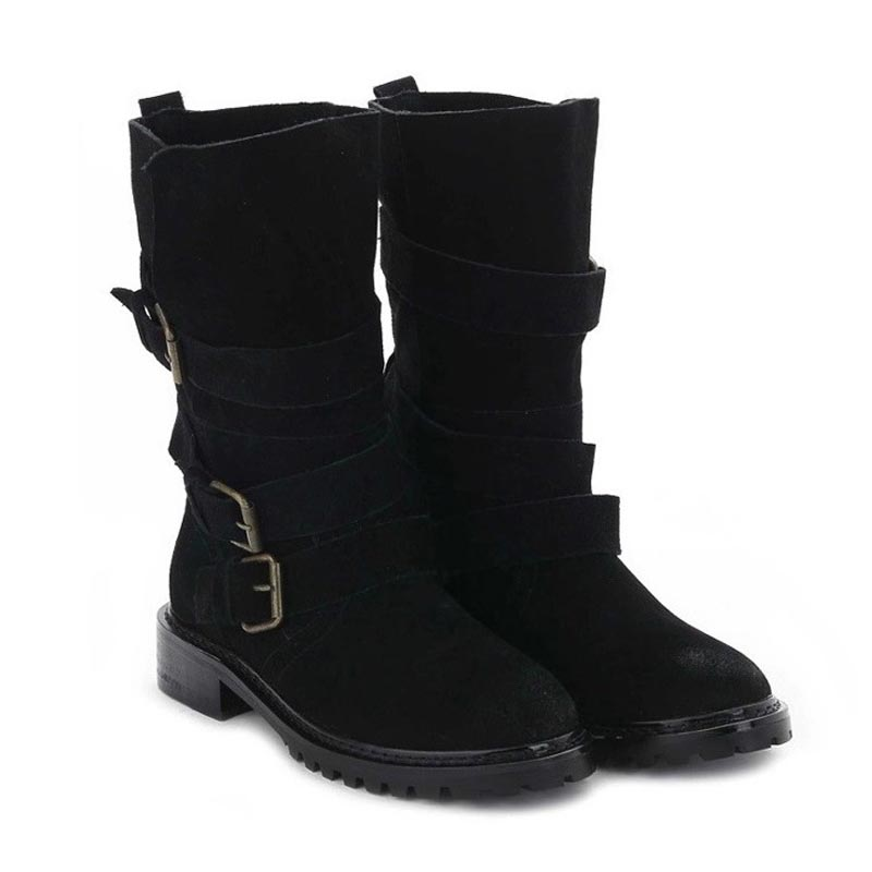 Fashion Black Genuine Leather Flat Ankle Women Motorcycle Boots Ladies Shoes Woman Bottes Femme Chaussure Botas Mujer Femininas<br><br>Aliexpress