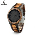 2017 BOBO BIRD D30 Round Vintage Ebony Bamboo Wood Watch Men Zebra Bamboo Wood Strap Luxury