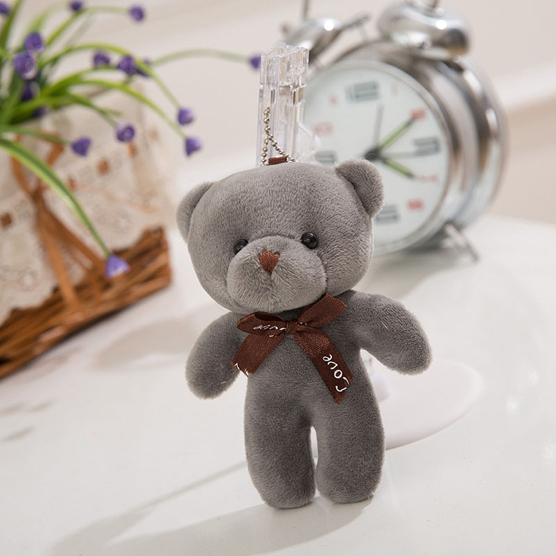 Bear Plush Toys Small Pendant New Cute Bear Strap Plush Pendant Bag Decorative Pendant Key Chain Doll 12cm Girl Pendant Jewelry(China (Mainland))