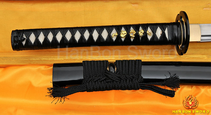 LEATHER ITO FOLDED DAMASCUS BLADE MUSASHI HIGH QUALITY JAPANESE SAMURAI SWORD(China (Mainland))
