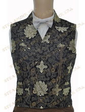 Halloween Costume Black Jacquard Floral Victorian Steampunk  Waistcoat(China (Mainland))