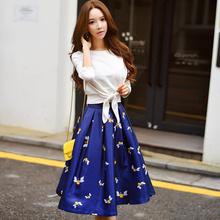 Original New Arrival 2016 Brand Saia Maxi Lady High Waist Plus Size Casual Elegant Autumn Printed Long Skirt Women Wholesale