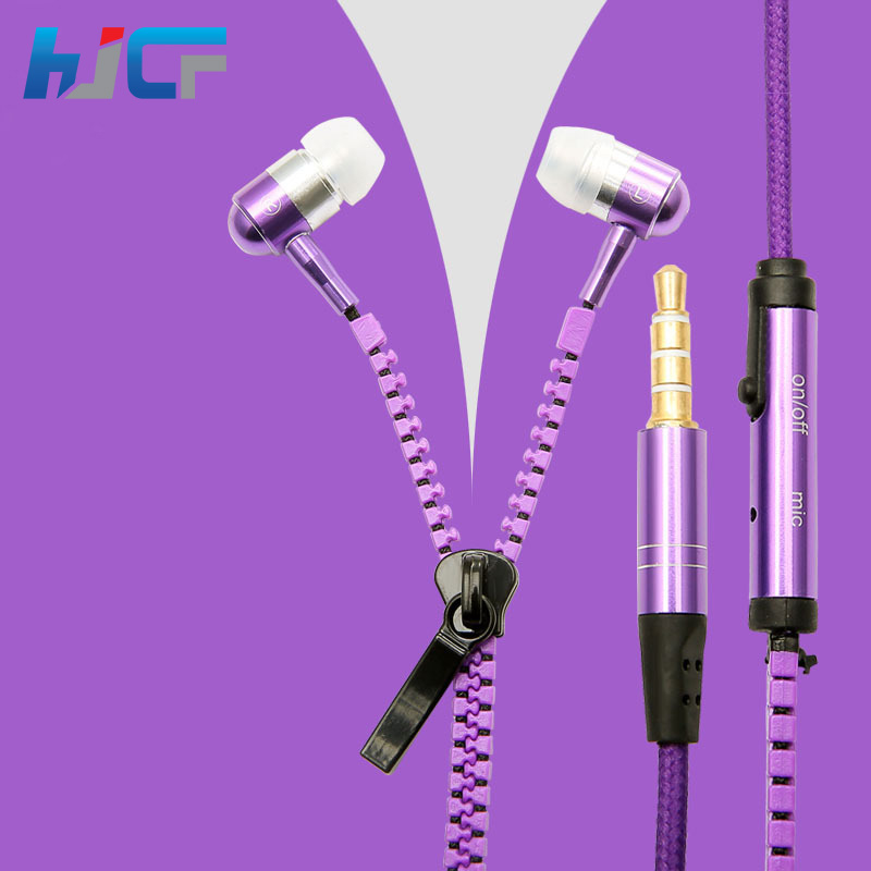 2016 New Metal Headphones Wired Zipper Earphone Stereo Headset Microphone Xiaomi Samsung Iphone Sony Mp3  -  HJCF Quality Store store