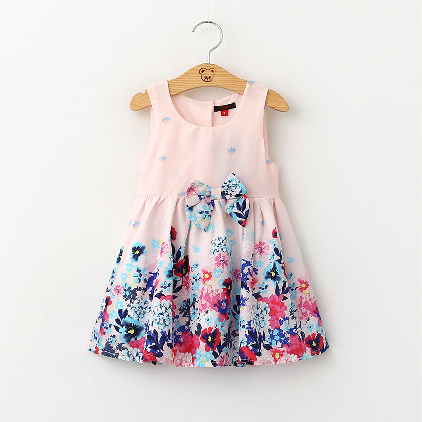 2-7T  Kids Girls Floral Casual Dresses with Bow Belt 2016 Summer Sleeveless Dress Baby Fowers Printed Dresses 5pcs/lot Wholesale<br><br>Aliexpress
