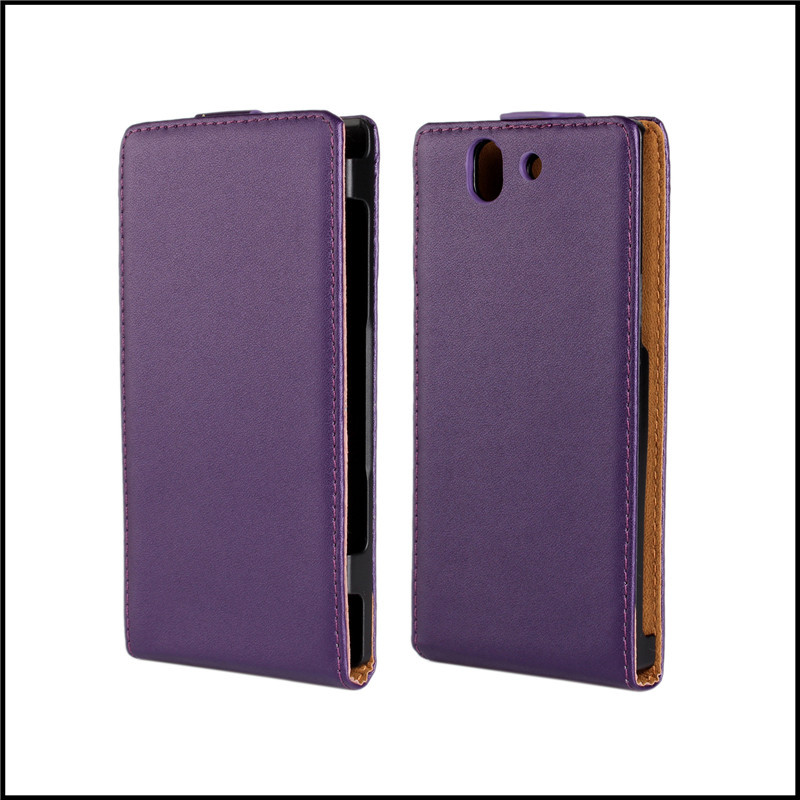 Genuine Phone Bag For Sony Xperia Z l36h c6603 c6602 Printed Flip Leather Case Cover with 5 Colors + free shipping(China (Mainland))