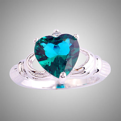 Attractive Heart Cut Claddagh Green & White Topaz Silver Ring Size 7 8 9 10(China (Mainland))