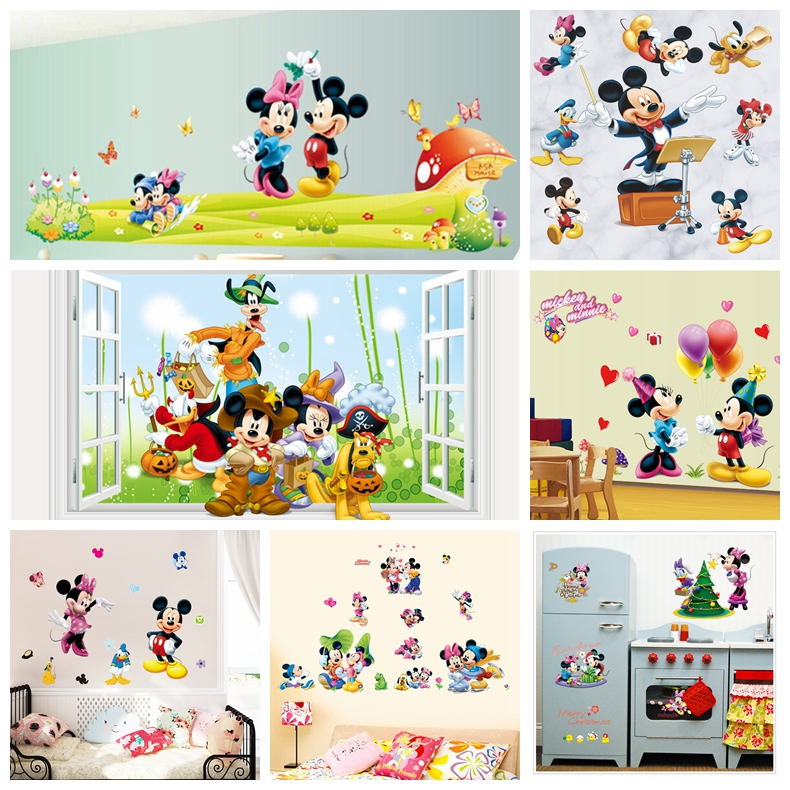 Mickey Mouse Minnie mouse wall sticker children room nursery decoration diy adhesive mural removable vinyl wallpaper decorations(China (Mainland))