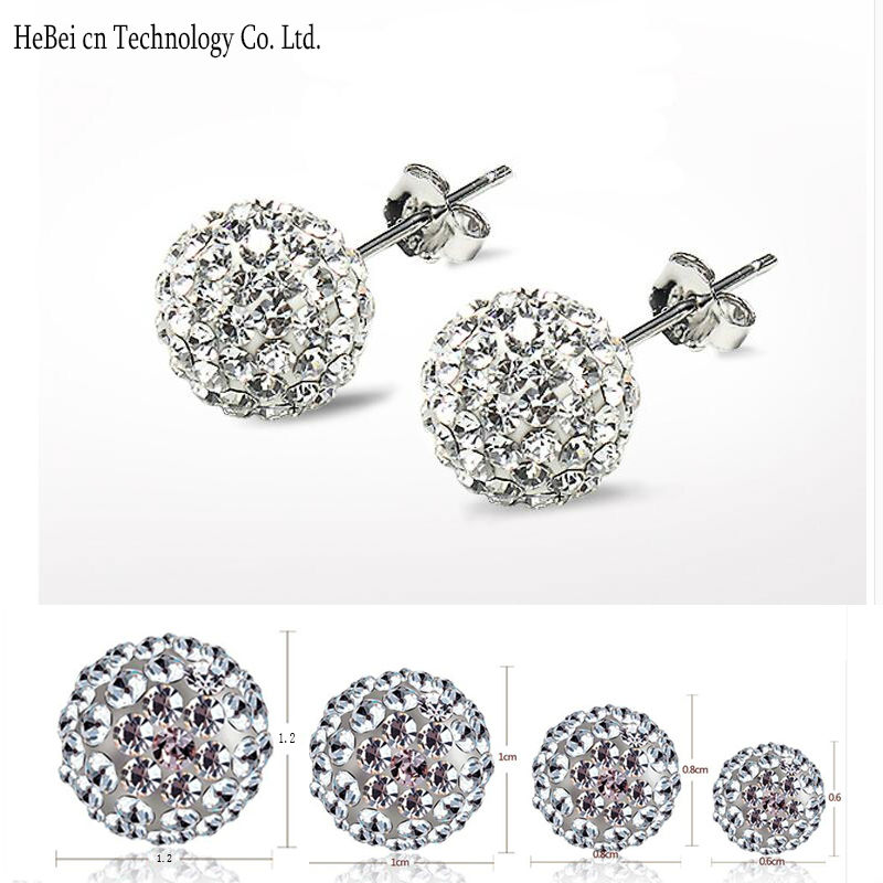 Free Shipping 4 Size 12MM 10MM 8MM 6MM Trendy Brand Earrings Top Quality Ball Crystal Stud Earring For Women Fashion Jewelry(China (Mainland))