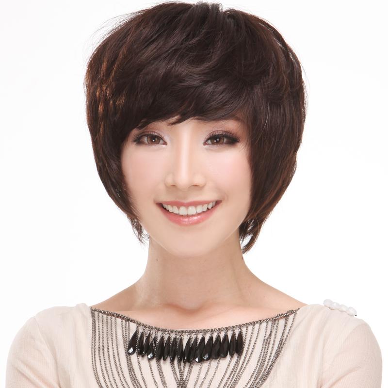 Здесь можно купить  Hand-made real hair full wig short hair fluffy curly hair old-age women