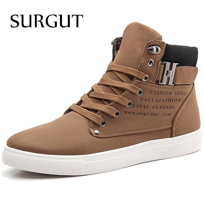 SURGUT Men Shoes 2016 Top Fashion New Winter Front Lace Up Casual Ankle Boots Autumn Sport