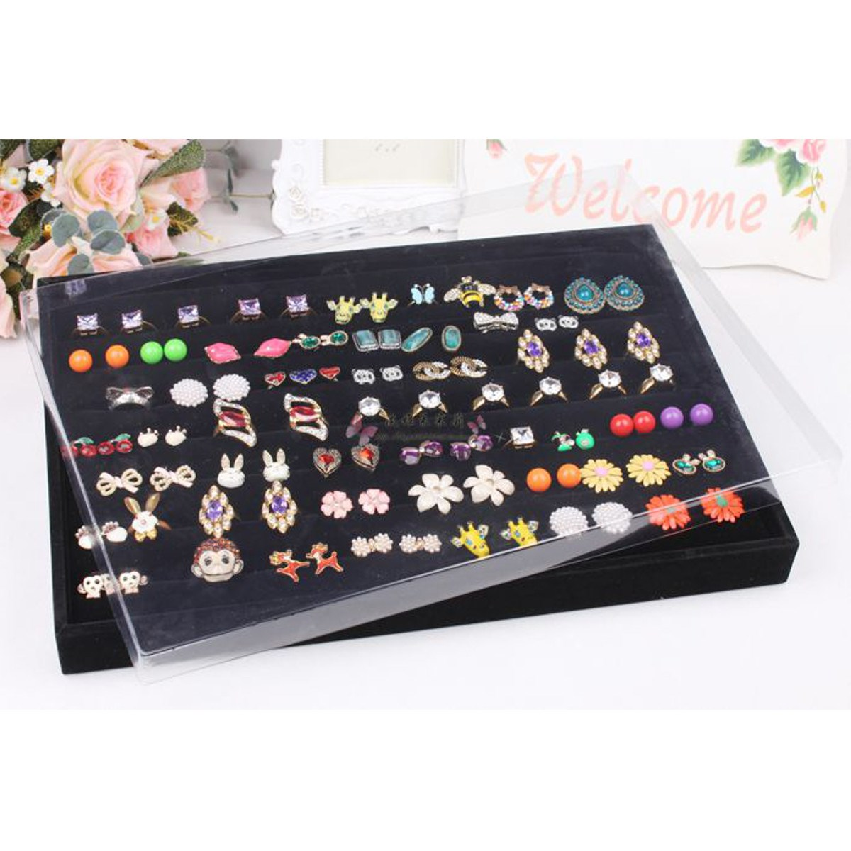 2017 New Jewelry Organizer 35*24*3cm Anti Dust Cover To Cover Jewelry Display Case Tray For Ring Earring Necklace Bracelet Watch(China (Mainland))