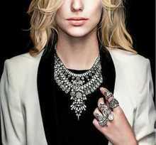 Hot Sale 2015 New Design Europe Exaggerated Punk Luxury Retro Crystal Flowers Metal Gem Statement Necklaces Rhinestone Rivets(China (Mainland))