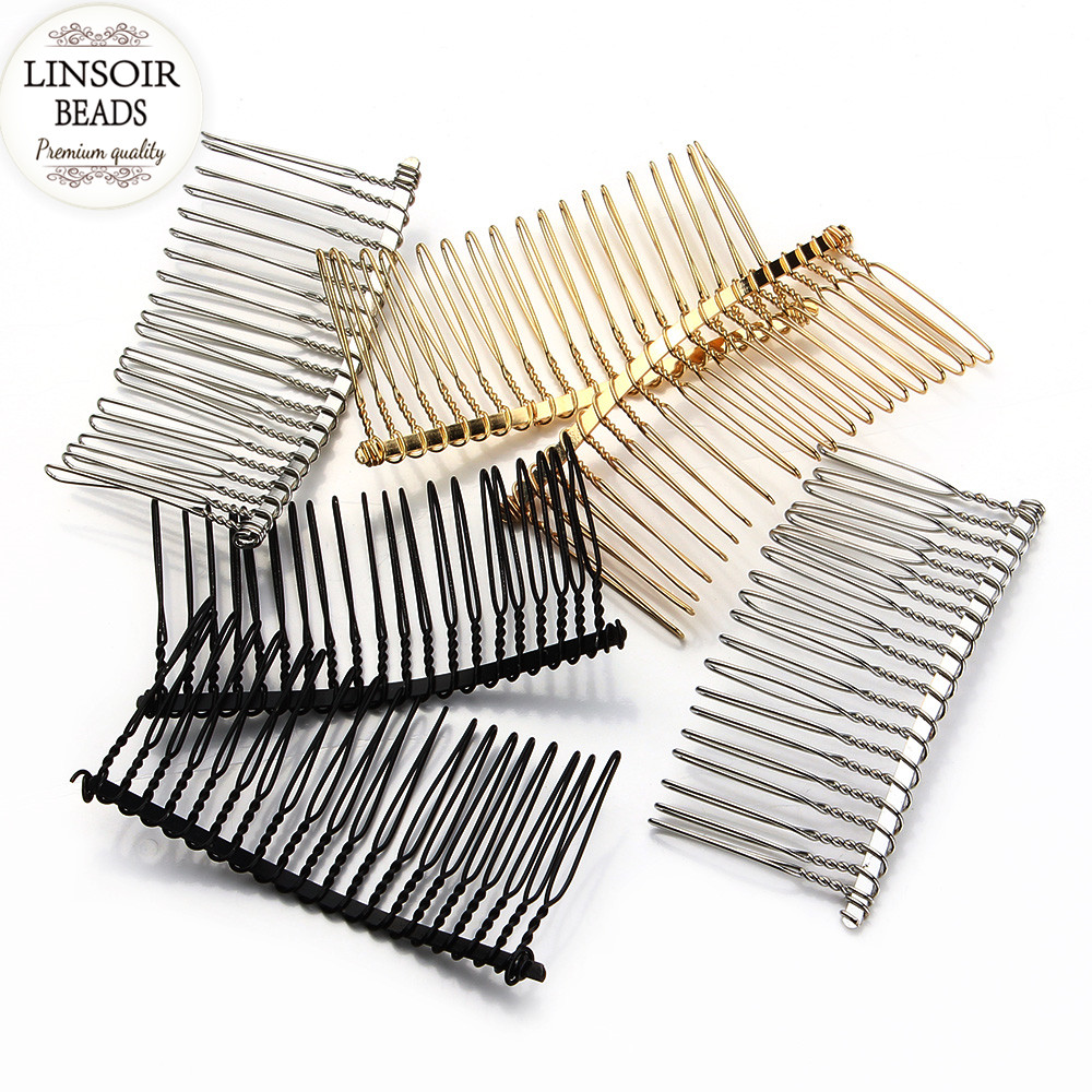 6pcs/lot New Design Fashion Black/Gold /Rhodium Hairpin Wedding Hair Accessories Metal Hair Combs DIY Jewelry Findings F1573(China (Mainland))