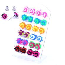 Free Shipping Hot Selling Korea Design Colorful Screw Ice Cream Design Double Colors Soft Silicone Stud Earrings Fashion Jewelry(China (Mainland))