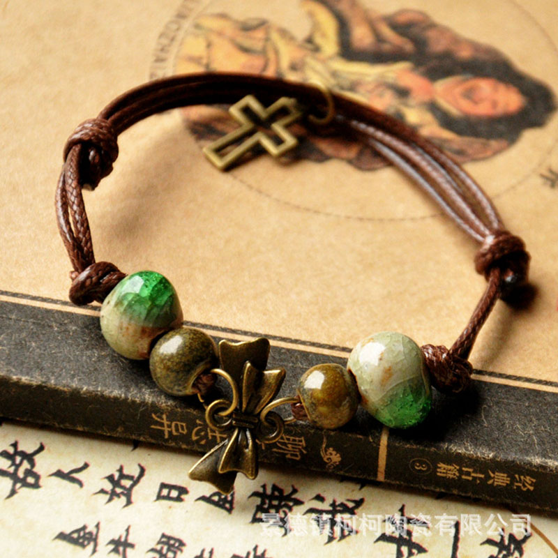Jingdezhen hand made up of ceramic beads bracelet ice crack butterfly knot national features anti radiation handmade jewelry(China (Mainland))