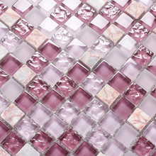 2015 new design pink purple wave glass mosaic tile backsplash nature stone tiles romantic bathroom deco mesh tile 11 sheets/box