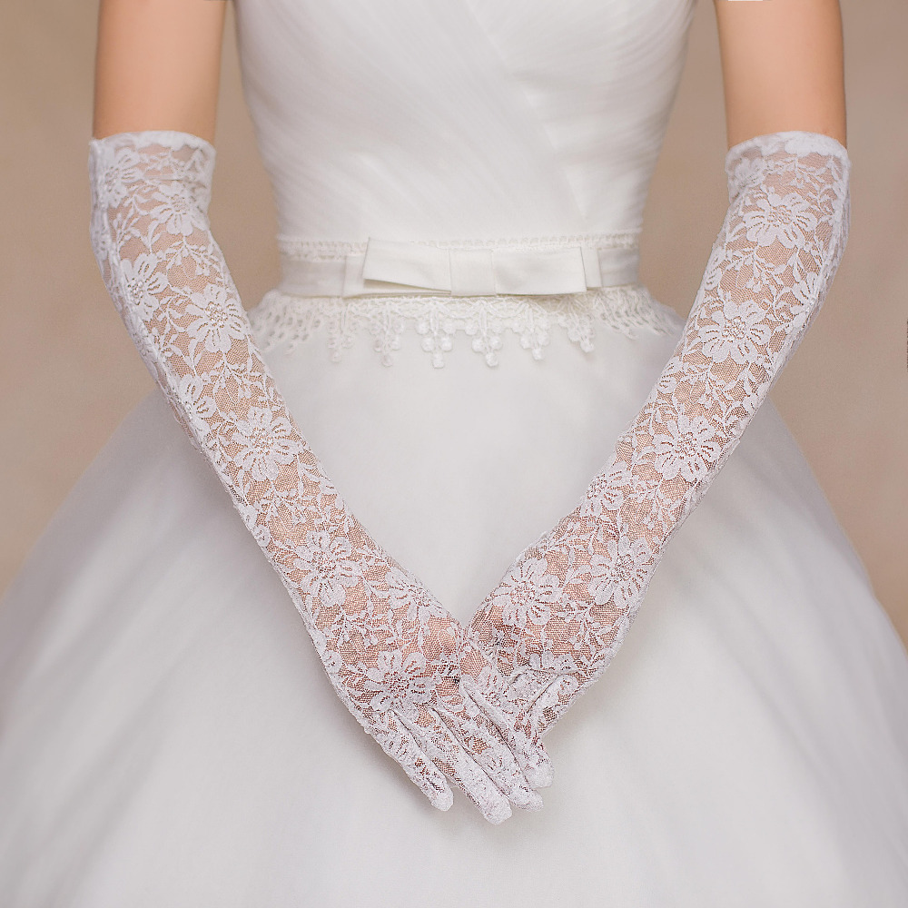 Cheap 2015 lace elbow length full finger fashion bride flowers white wedding gloves formal mariage bridal accessories BG-017(China (Mainland))
