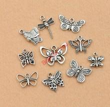 Mixta tono de plata tibetana libélula mariposa moda los colgantes Diy accesorios joyería que hace 9 estilos m017(China (Mainland))