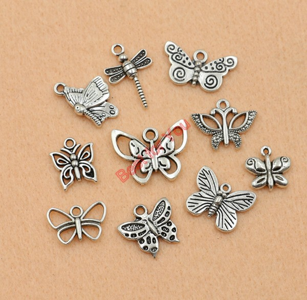 Mixed Tibetan Silver Tone Butterfly Dragonfly Charm Fashion Pendants Jewelry Diy Accessories Jewelry Making 9styles m017(China (Mainland))