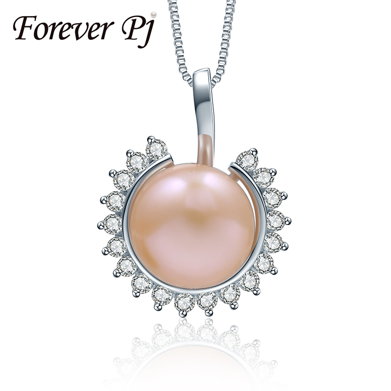 Europe Elegant Freshwater Natural Big 10-10.5mm Pearl Pendants, White Pink Purple Black High Luster Sun Necklace For Mother Gift(China (Mainland))