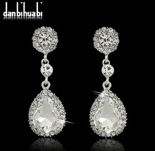 2014 New Brand Fashion Crystal Jewelry Big Platinum Plated Dangle Water Drop Earrings For Women(China (Mainland))