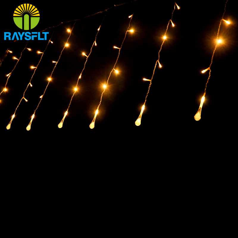 4*0.6M 220V Water Drop LED Curtain String Lights Lamp New Year Light Garden Wedding Party Christmas Decoration Fairy Lights(China (Mainland))