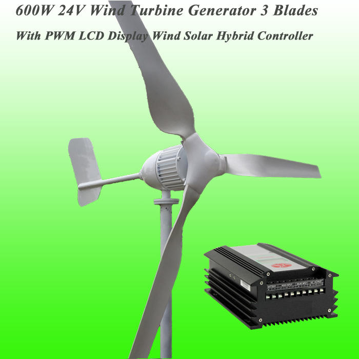 2016 New Arrival 3 Blades Rated 600W 24V Wind Generator & PWM LCD Display Wind Solar Hybrid Controller Wind Power Generator Kit(China (Mainland))