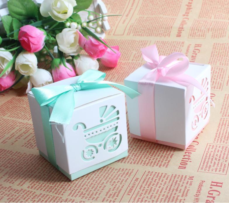Favour Boxes Baby Blue : Pcs lot pink blue baby shower paper box favour gift