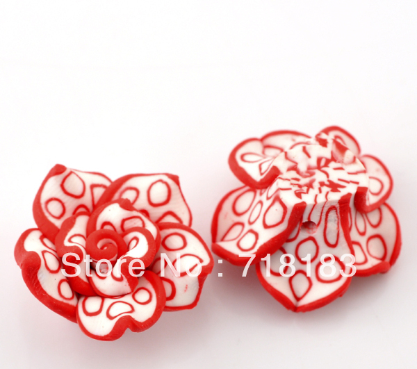 Wholesale 30 Pcs Red Polymer Clay Flower Charm Craft Loose Beads 25x14mm Making Jewelry DIY(China (Mainland))