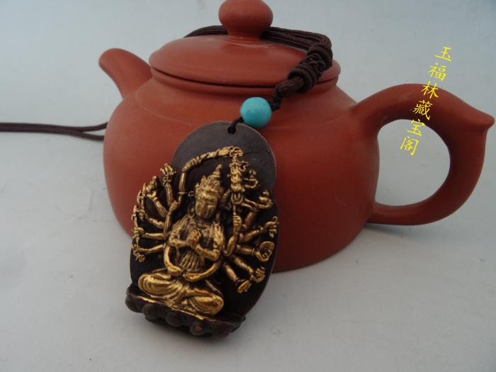 Антикварные предметы коллекционирования медь позолота серебро позолота кулон Лаки зло кулон Авалокитешвара старые вещи античный разное