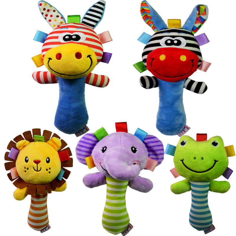 Soft Baby Kid Toy Ring Bell BB Baby Plush Rattle Squeaker Early Educational Doll Rod 0M+ Cute Cartoon Animal Musical Plush Toy(China (Mainland))