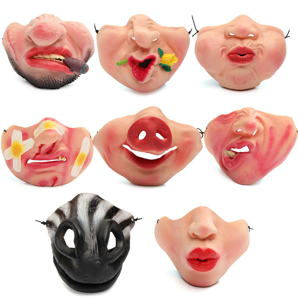 Гаджет  Women Men Halloween Latex Scary Mask Villian Joy Funny Costume Party Horror Creepy Cry Elastic Band Half Face Latex Masks None Дом и Сад