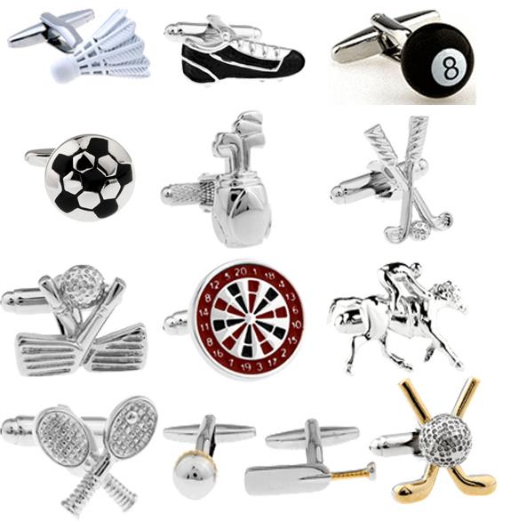 Promotion Free Shipping Sport Series Fashion Cufflinks Golf Football Tennis Design Copper Silver Men Cuff Links Wholesale&retail(China (Mainland))