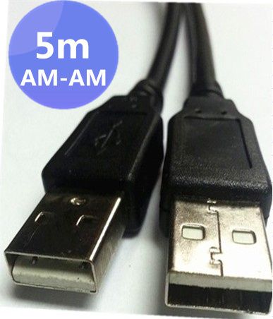 100pcs/lots Black 5 meters USB 2.0 Male to Male Cable Data Cord AM-AM 5m/16ft ,Free shipping By Fedex(China (Mainland))