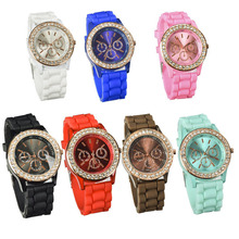 Lackingone relojes mujer 2015  Silicone Golden Crystal Stone Quartz watch Women Jelly Wrist Watch Candy Colors relogio feminino