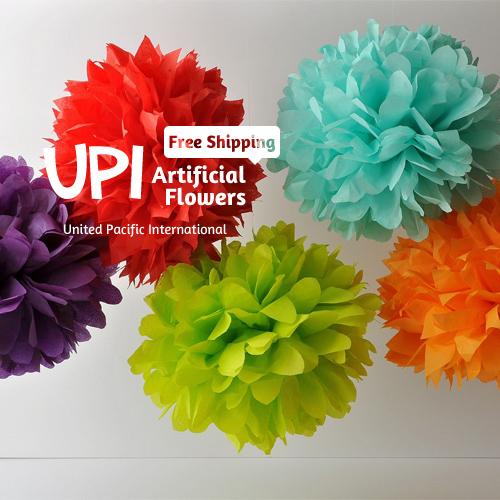 6 inch 15cm 2Decorative Artificial Paper Flowers Wedding Decoration Home Decor Tissue Pom Poms bouquet - Union Pacific International Trading Ltd. store