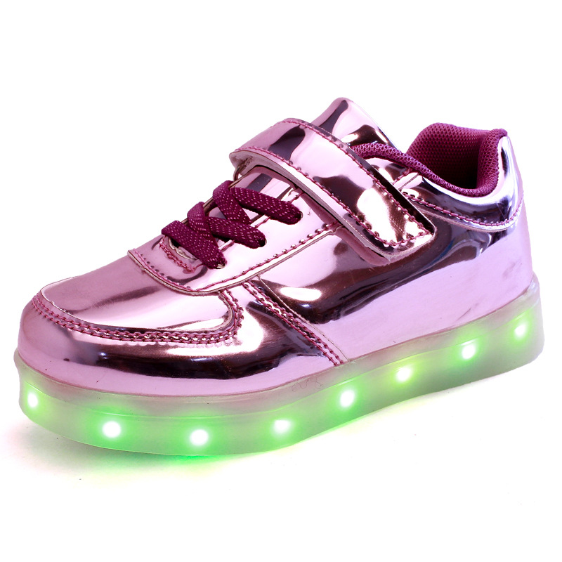 Free Shipping 2016 Summer Autumn PU Solid Usb Charger Boys Grils Children Shoes With Lights Kids Shoes LED Chaussure Enfant A07
