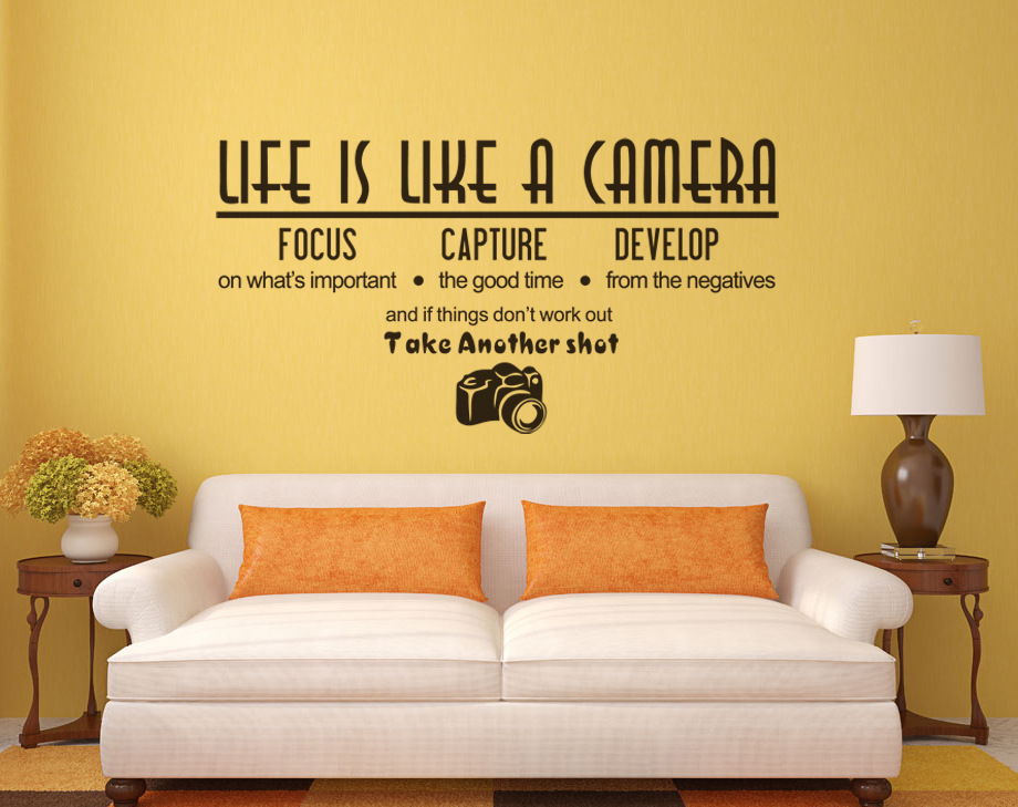 57*29.7cm LIFE IS LIKE CAMERA DIY Letter Words Wall Art Decals Vinyl Wall Stickers Living Room Mural Home Decor Inspiration(China (Mainland))