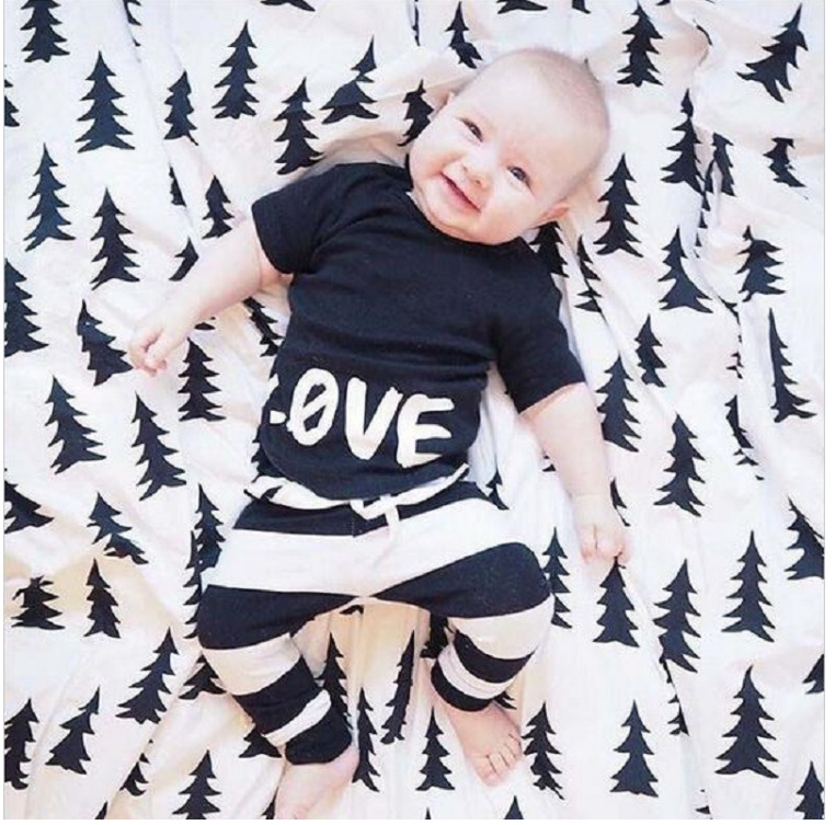 2016 baby boy clothing cotton short-sleeved T-shirt printing summer LOVE + striped pants newborn bebe baby girl clothes set(China (Mainland))