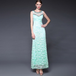 Summer Women's 2015 Fashion Handmade Beading Elegant Ladies Slim Evening Dress Split Back Backless Dresses
