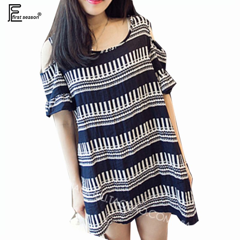 Plus Size Clothing New Designer Fashion Women Summer Wave Cute Sweet Off Shoulder Ladies Striped Linen Loose Mini Dress 4XL 3XL(China (Mainland))