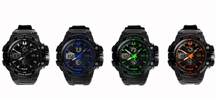 New Children Watch Sports Watches 2 Time Zone Digital Quartz Electronic LED Chronograph 50M Waterproof Student