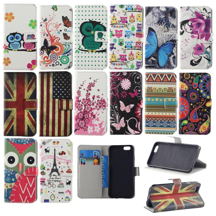 PU Leather Stand Wallet Flip Retro Flag Cartoon Owl Hard Cover Case iPhone 6 4.7'' Phone Card Holder - Jackie Union Trading Co.,Ltd store