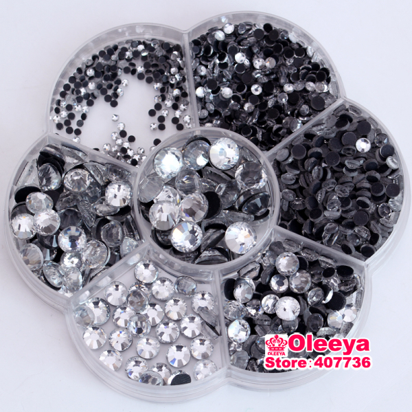 Mix 7 Sizes Approx 3000pcs/Lot with flower box ,Clear DMC HotFix Rhinestones FlatBack Hot Fix glitters crystals stones Y0019(China (Mainland))