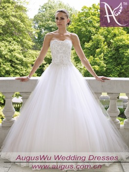 New arriva strapless Weddng dresses Lace applique garden tull/lae White/Ivory bridal gowns 336