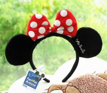 Lovely Mickey Hairpin Ears Hair Bands Black Hairpin Red and White Spots Bow Children Hair Accessories Lovely Mickey Hairpin