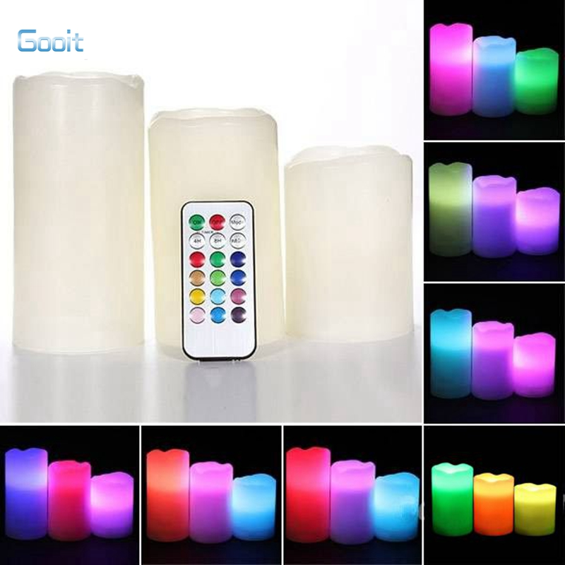 LED Candle Remote Control Flameless Candles lights Bulk 3 x Remote Control Color Change LED Vanilla Flameless Wax Candles(China (Mainland))